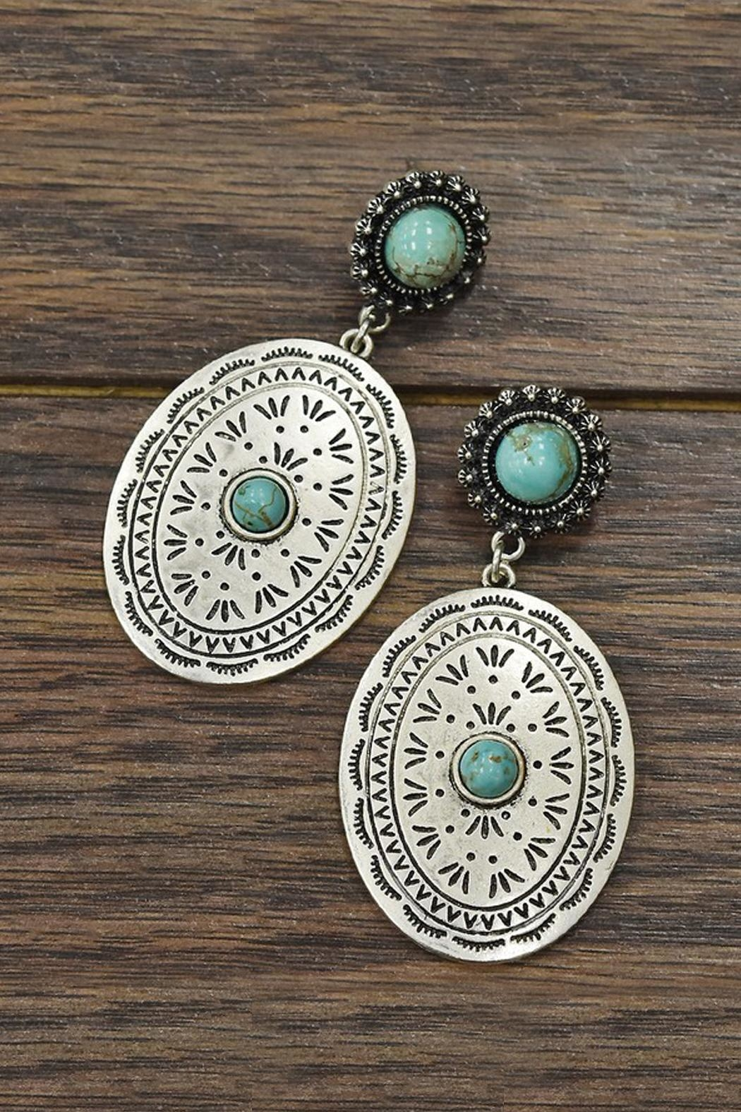 JChronicles Natural-Turquoise Concho Earrings - Main Image