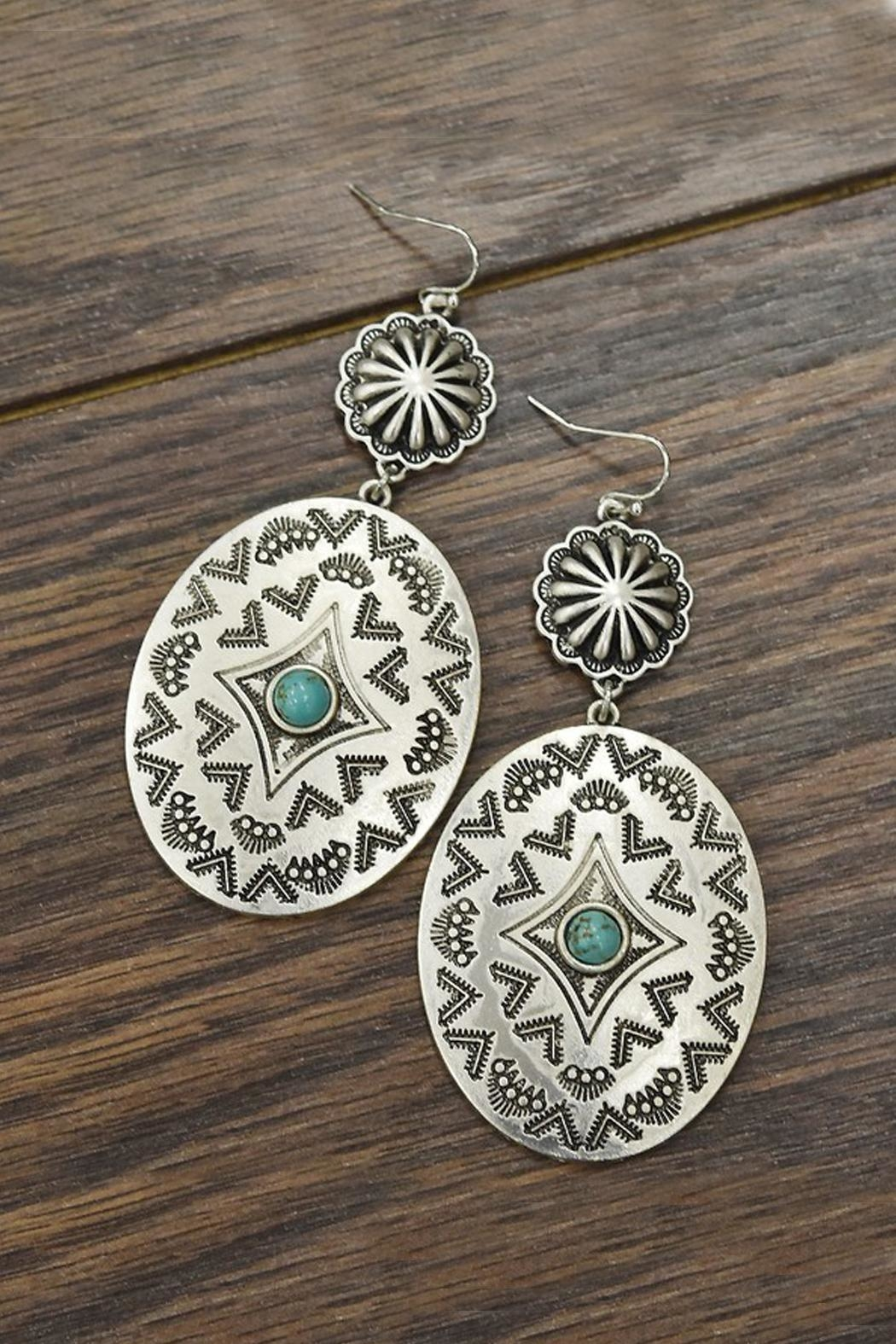 JChronicles Natural Turquoise Concho-Earrings - Main Image