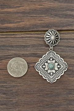JChronicles Natural-Turquoise Concho Post-Earrings - Alternate List Image