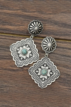 Shoptiques Product: Natural-Turquoise Concho Post-Earrings