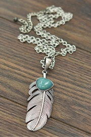 JChronicles Natural-Turquoise Feather-Pendant Necklace - Front cropped