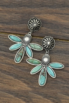 Shoptiques Product: Natural Turquoise Post-Earrings