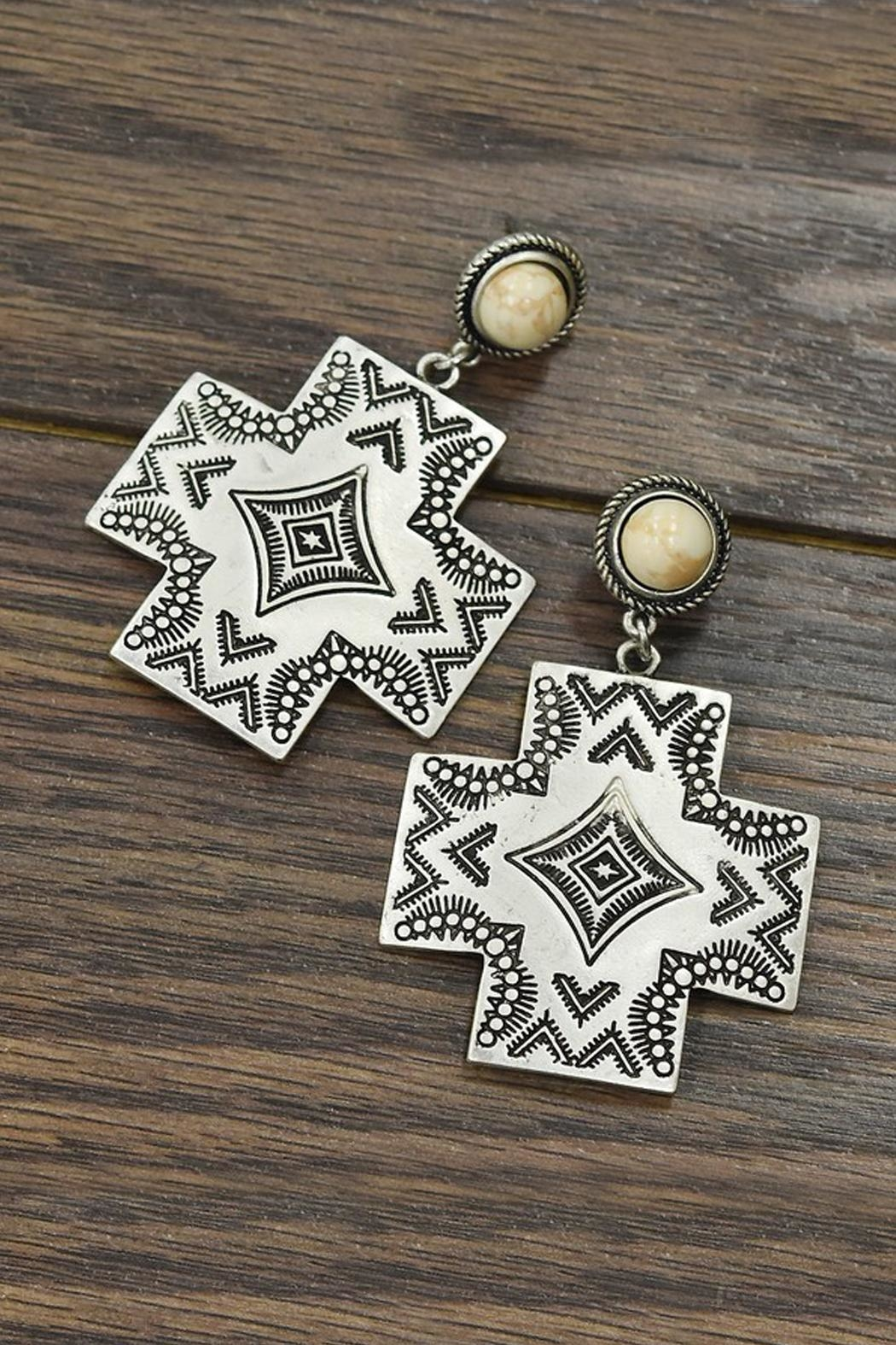 JChronicles Natural-White-Turquoise Aztec Post-Earrings - Main Image