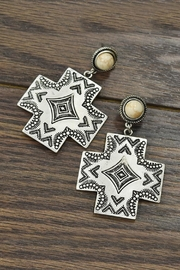 JChronicles Natural-White-Turquoise Aztec Post-Earrings - Product Mini Image