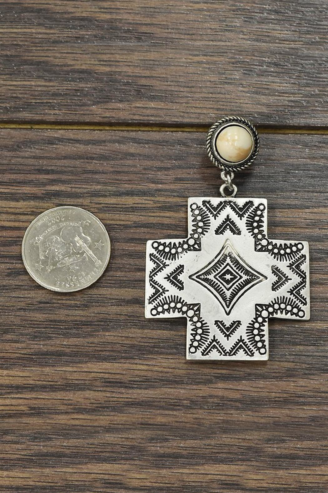 JChronicles Natural-White-Turquoise Aztec Post-Earrings - Front Full Image