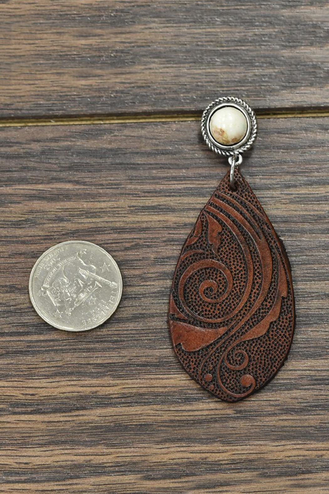 JChronicles Natural-White-Turquoise Tooling-Leather Earrings - Front Full Image