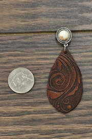 JChronicles Natural-White-Turquoise Tooling-Leather Earrings - Front full body