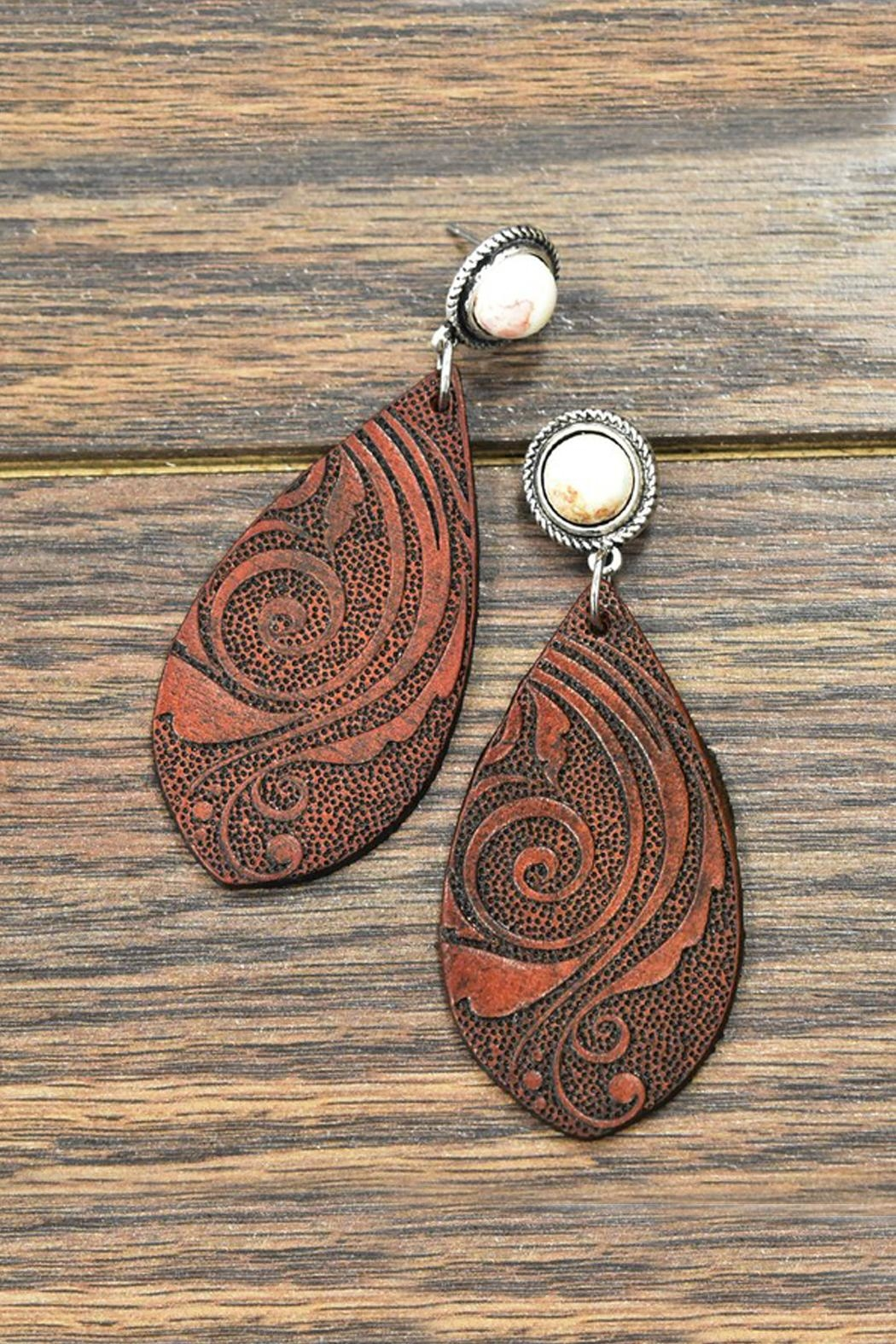 JChronicles Natural-White-Turquoise Tooling-Leather Earrings - Main Image