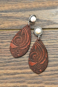 JChronicles Natural-White-Turquoise Tooling-Leather Earrings - Product List Image
