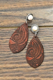 JChronicles Natural-White-Turquoise Tooling-Leather Earrings - Product Mini Image