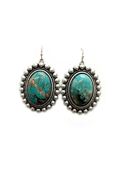 Shoptiques Product: Oval Turquoise Earrings
