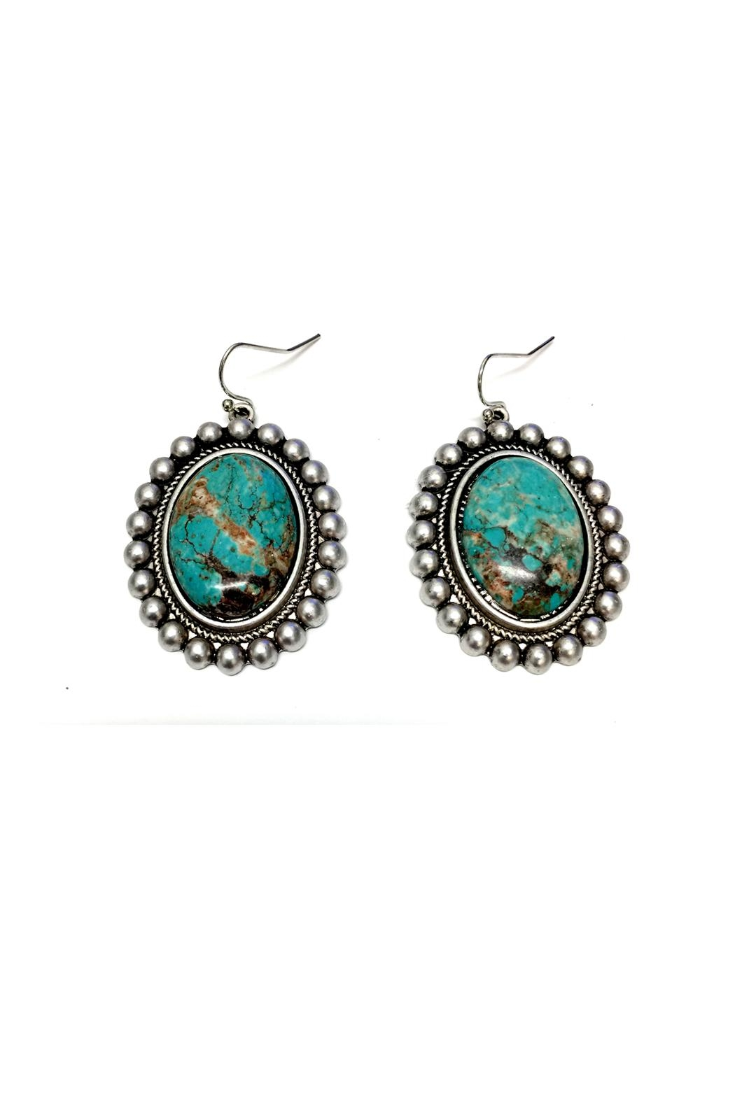 JChronicles Oval Turquoise Earrings - Front Full Image
