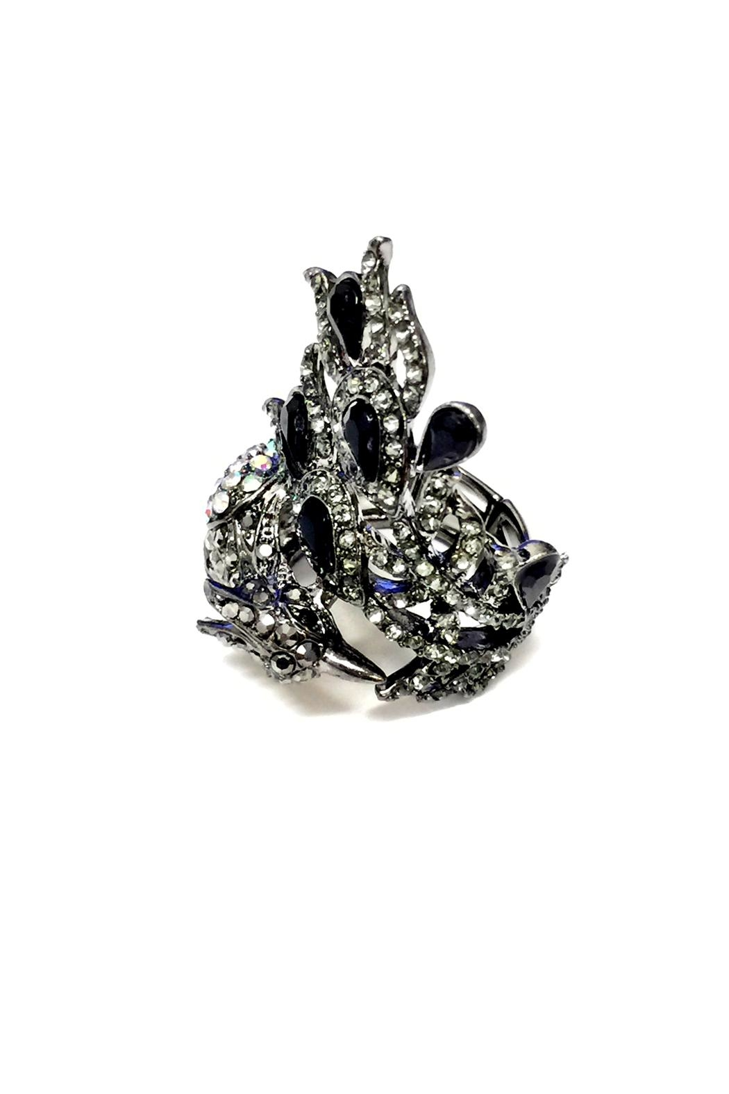 JChronicles Peacock Rhinestone Ring - Front Full Image