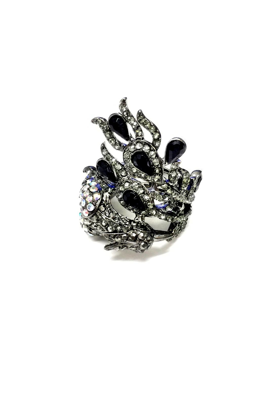 JChronicles Peacock Rhinestone Ring - Front Cropped Image