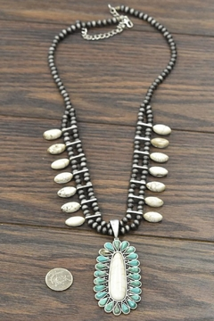 JChronicles Squash-Blossom Natural-White Turquoise-Necklace - Alternate List Image