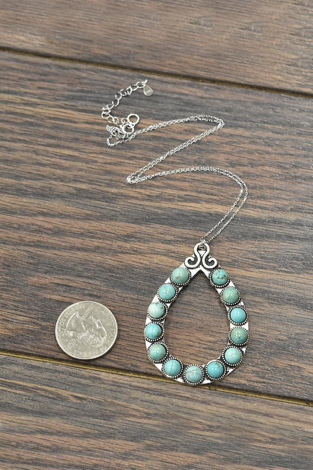 JChronicles Sterling-Silver-Chain Natural-Turquoise Pendant-Necklace - Front Full Image