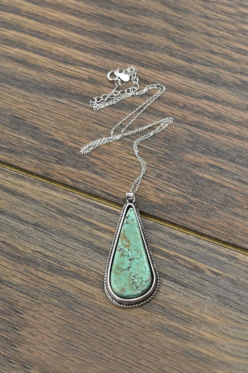 JChronicles Sterling-Silver-Chain Natural-Turquoise-Stone Pendant-Necklace - Main Image