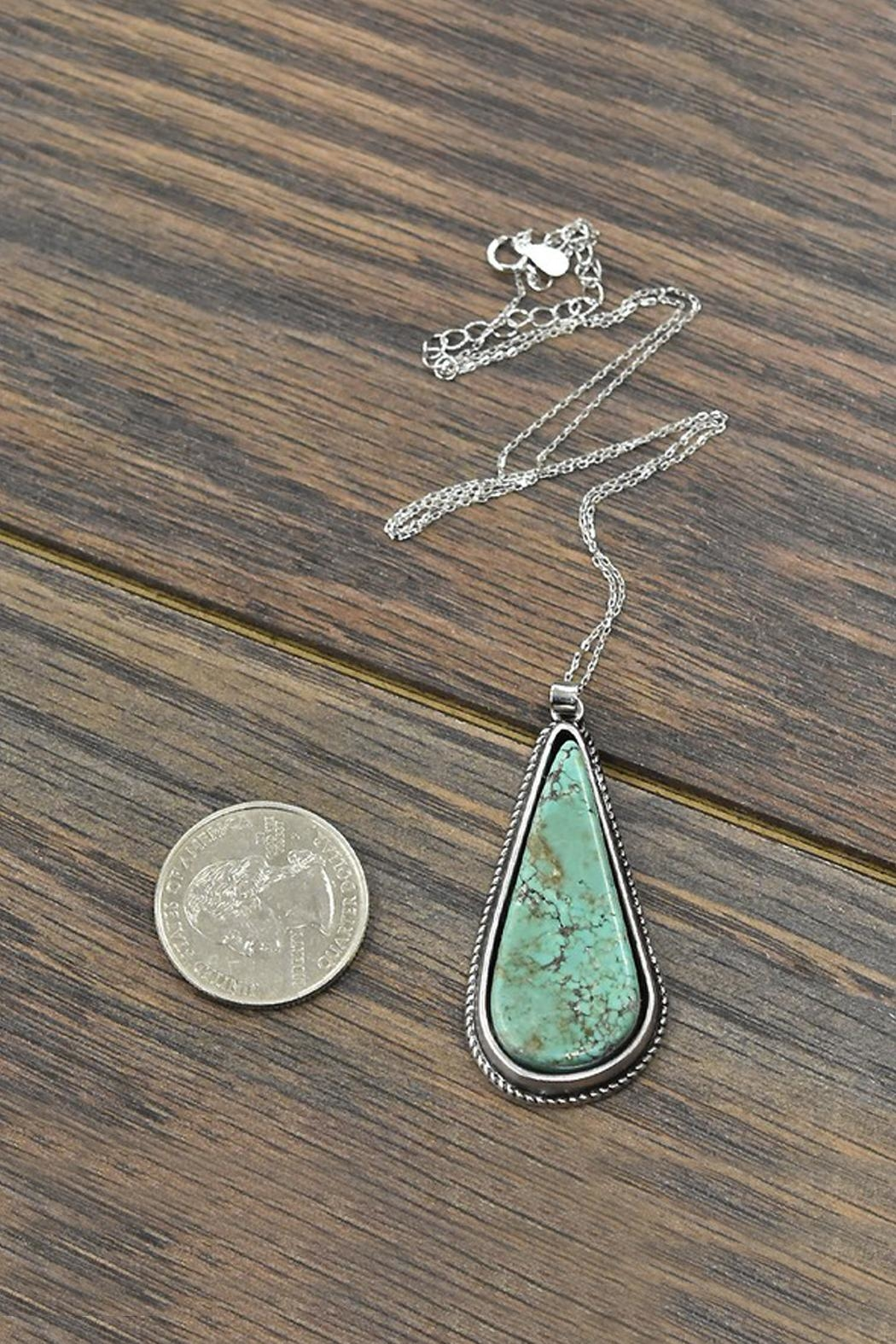 JChronicles Sterling-Silver-Chain Natural-Turquoise-Stone Pendant-Necklace - Front Full Image
