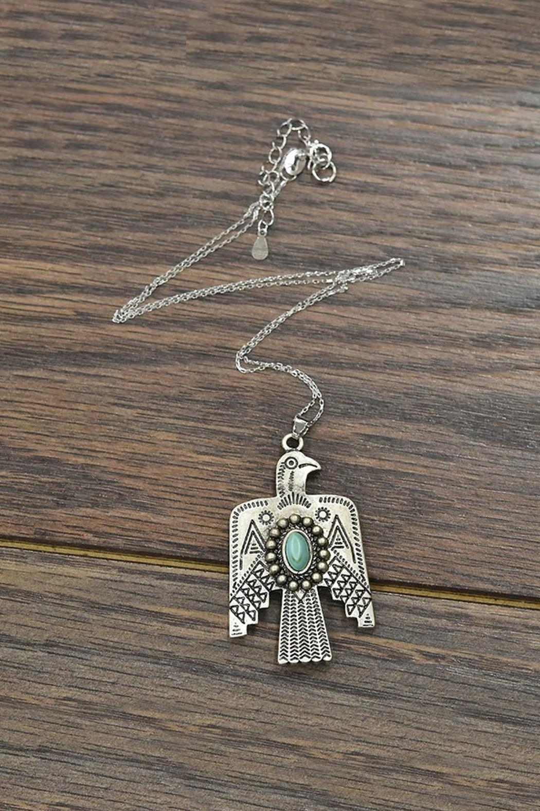 JChronicles Sterling-Silver-Chain Natural-Turquoise Thunderbird-Necklace - Main Image