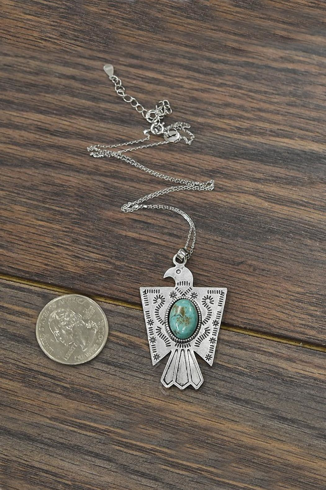 JChronicles Sterling Silver-Chain-Necklace Natural-Turquoise Thunderbird-Necklace - Front Full Image