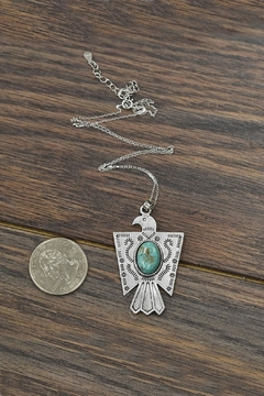 JChronicles Sterling Silver-Chain-Necklace Natural-Turquoise Thunderbird-Necklace - Alternate List Image
