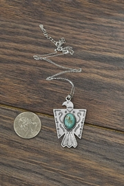 JChronicles Sterling Silver-Chain-Necklace Natural-Turquoise Thunderbird-Necklace - Front full body