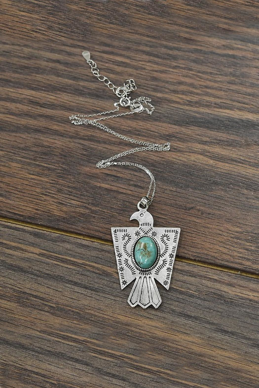 JChronicles Sterling Silver-Chain-Necklace Natural-Turquoise Thunderbird-Necklace - Main Image