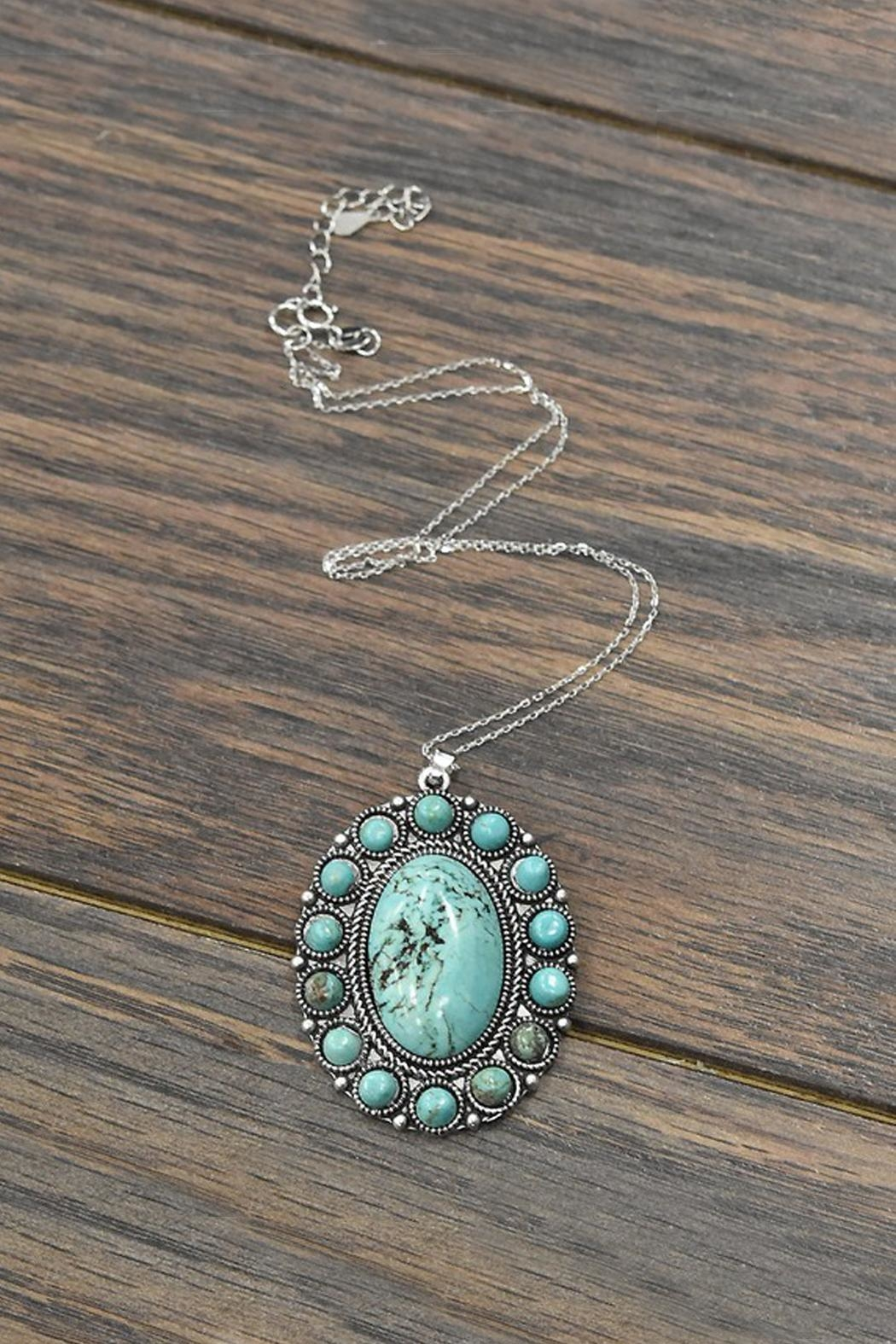 JChronicles Sterling-Silver-Chain-Necklace With  Natural-Turquoise-Pendant - Front Cropped Image