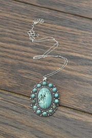 JChronicles Sterling-Silver-Chain-Necklace With  Natural-Turquoise-Pendant - Front cropped