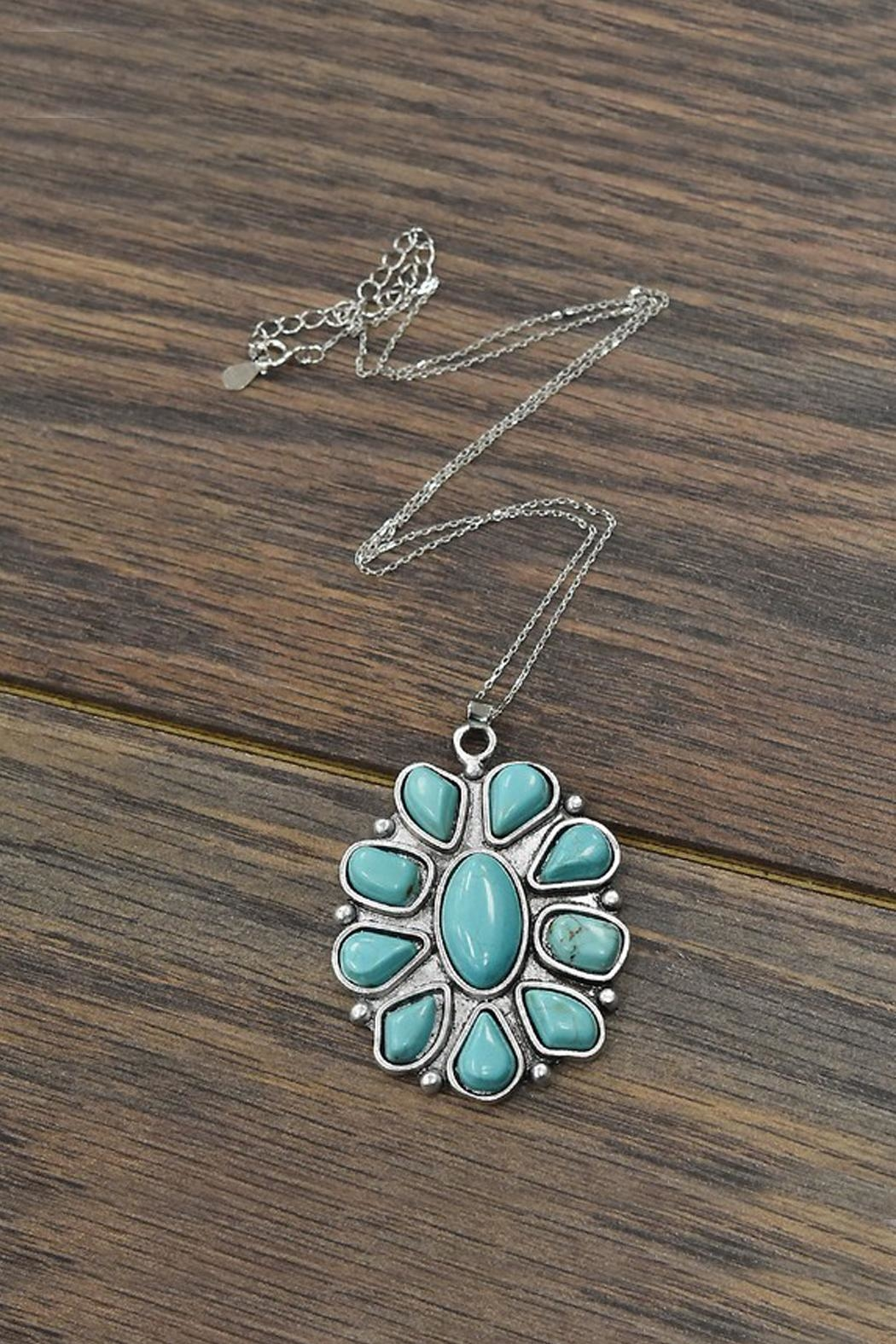 JChronicles Sterling-Silver-Chain With  Natural-Turquoise-Pendant-Necklace - Front Cropped Image