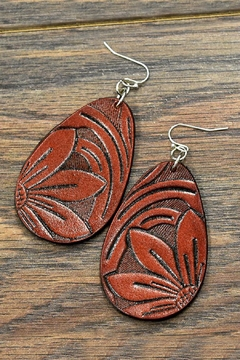 Shoptiques Product: Tooling Leather Earrings
