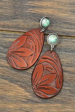 Shoptiques Product: Tooling-Leather Natural-Turquoise Post-Earrings