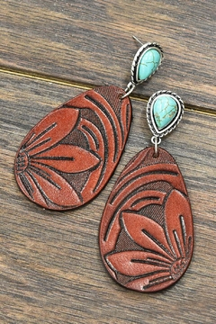 JChronicles Tooling-Leather Natural-Turquoise Post-Earrings - Product List Image