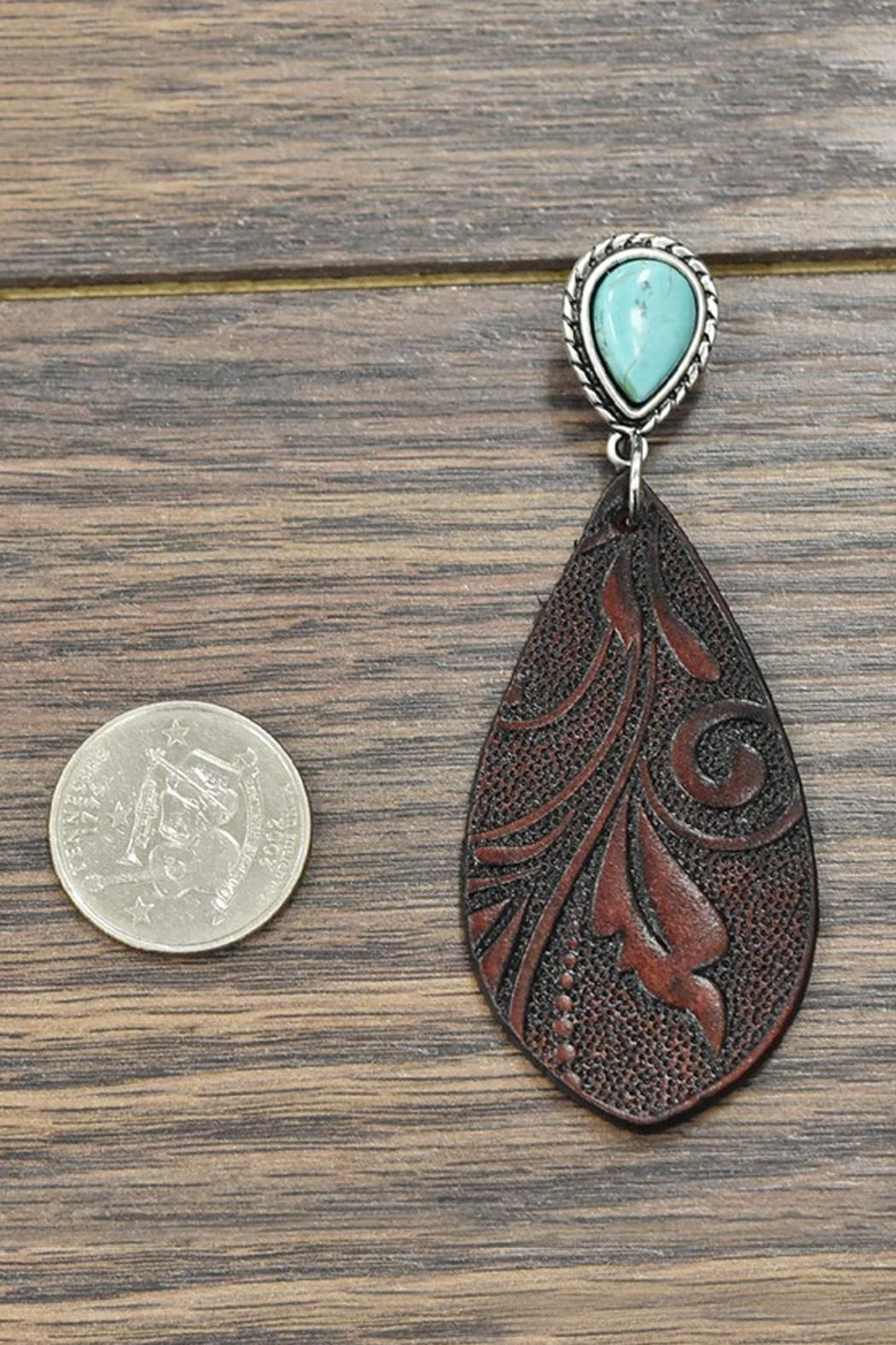 JChronicles Tooling-Leather Natural-Turquoise Post-Earrings - Front Full Image