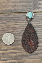 JChronicles Tooling-Leather Natural-Turquoise Post-Earrings - Front full body