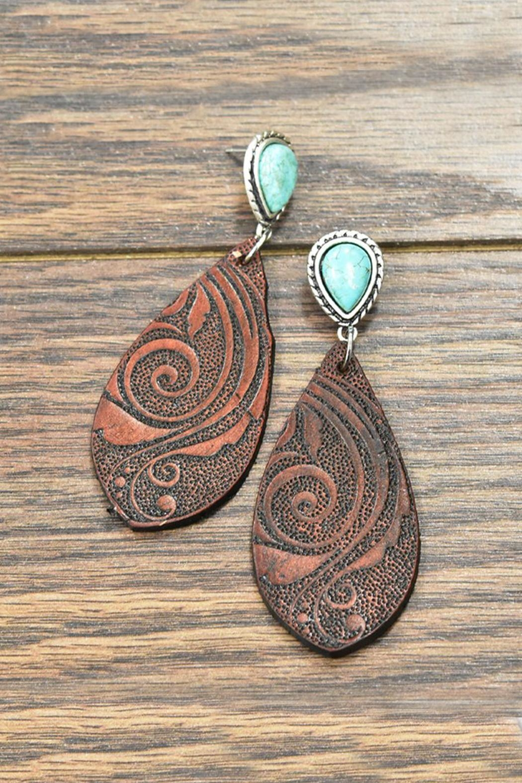 JChronicles Tooling-Leather Natural-Turquoise Post-Earrings - Main Image
