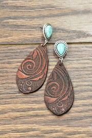 JChronicles Tooling-Leather Natural-Turquoise Post-Earrings - Front cropped