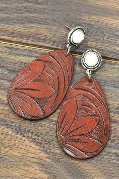 JChronicles Tooling-Leather Natural-White-Turquoise Post-Earrings - Product List Image