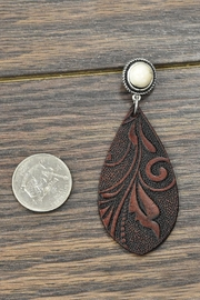 JChronicles Tooling-Leather Natural-White-Turquoise Post-Earrings - Front full body