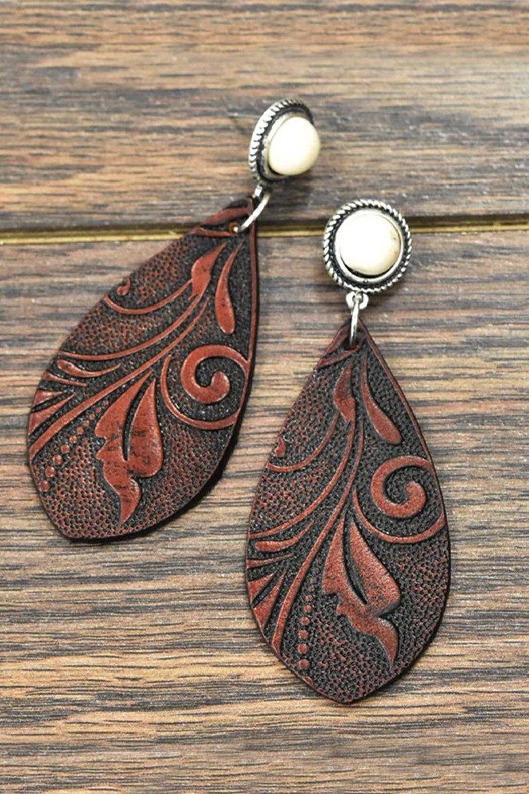 JChronicles Tooling-Leather Natural-White-Turquoise Post-Earrings - Main Image