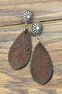 Shoptiques Product: Tooling Leather Post-Earrings