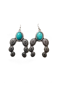 Shoptiques Product: Turquoise Concho Earrings