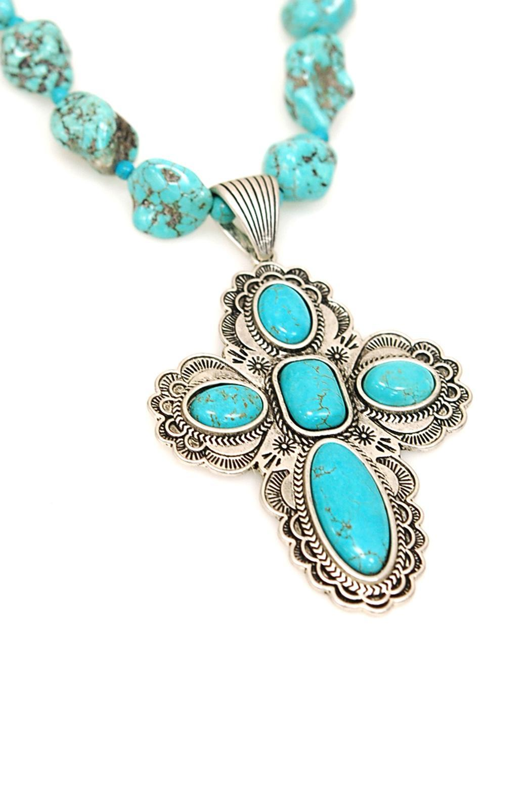 JChronicles Turquoise Cross Necklace Set - Main Image