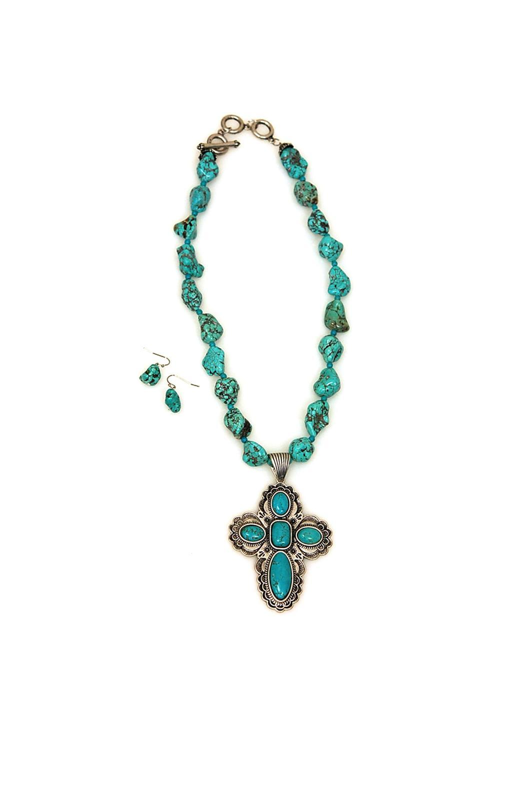 JChronicles Turquoise Cross Necklace Set - Front Cropped Image