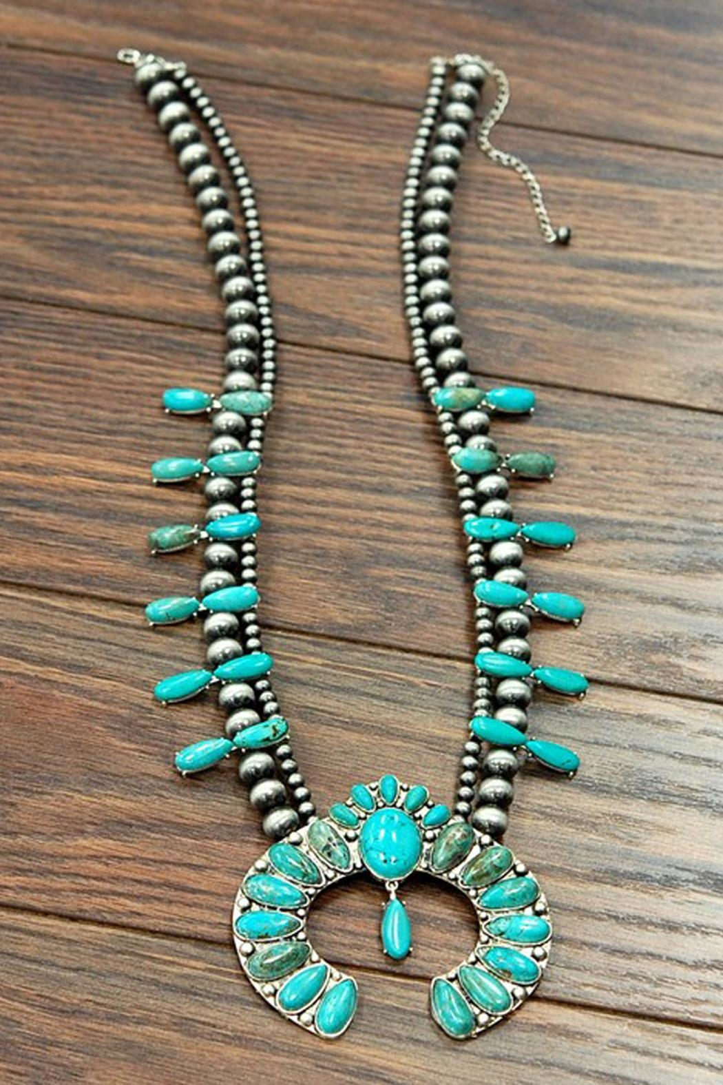 JChronicles Turquoise Squash Blossom Necklace - Back Cropped Image