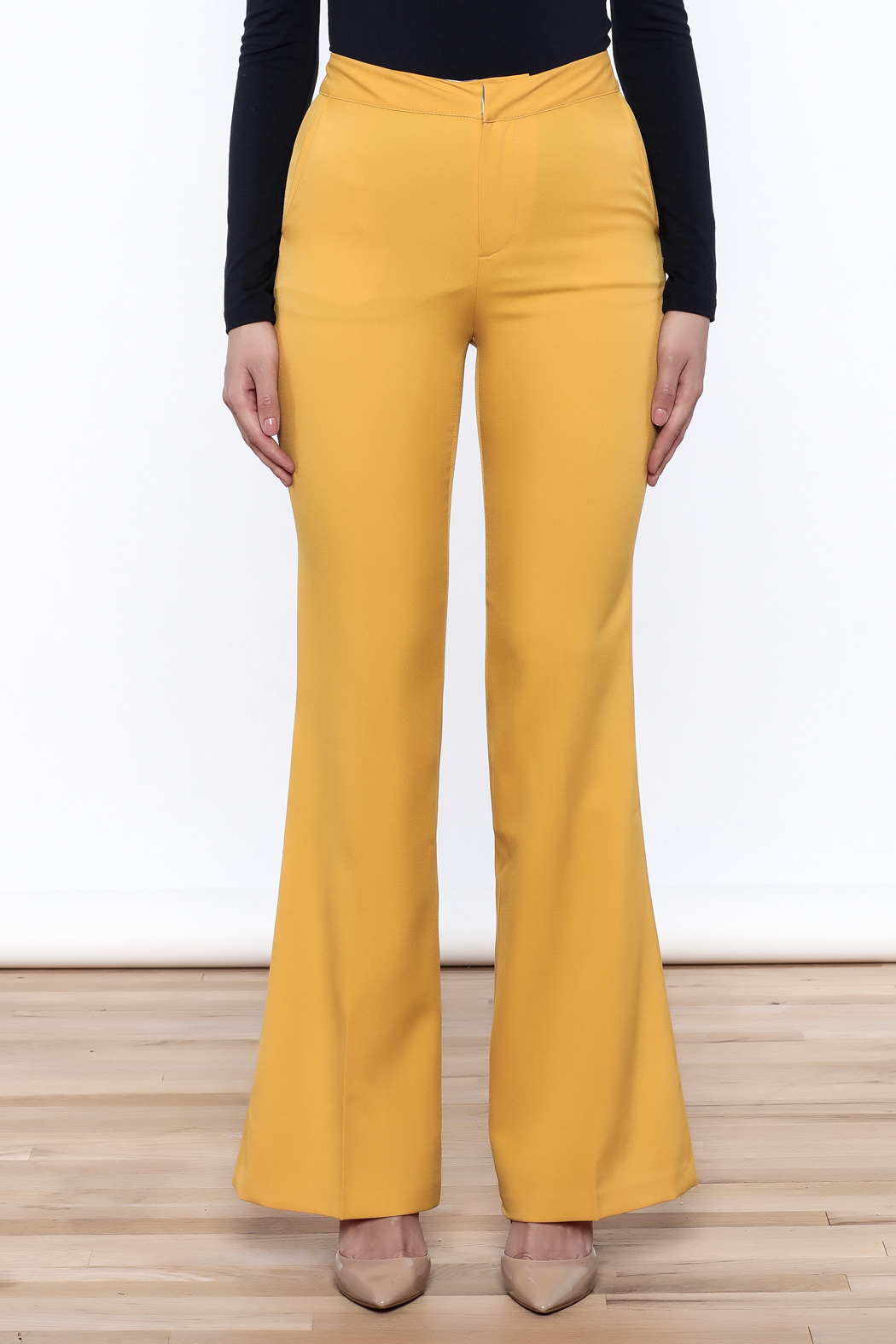 Jealous Tomato Mustard Bell Pants - Side Cropped Image