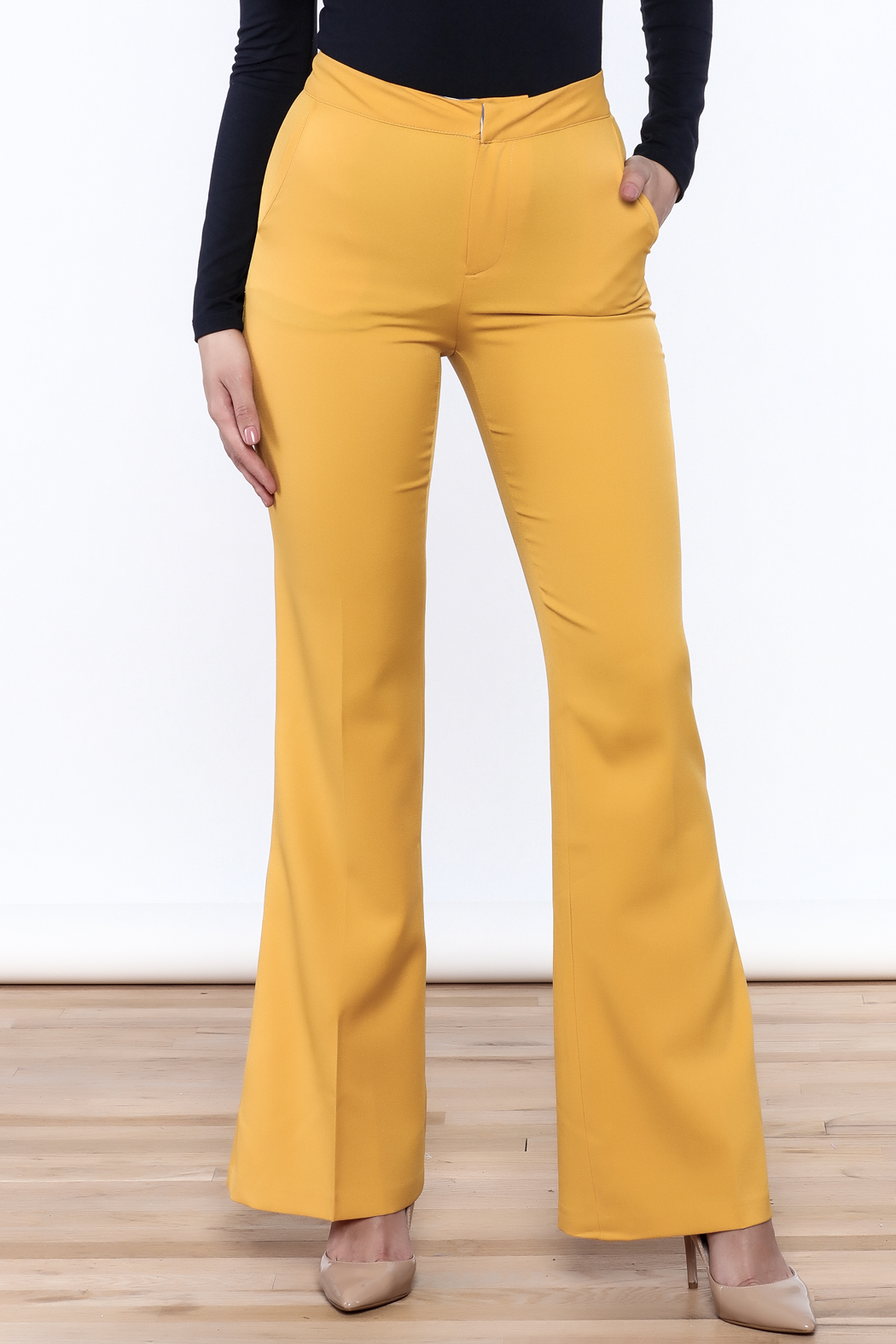 Jealous Tomato Mustard Bell Pants - Front Cropped Image