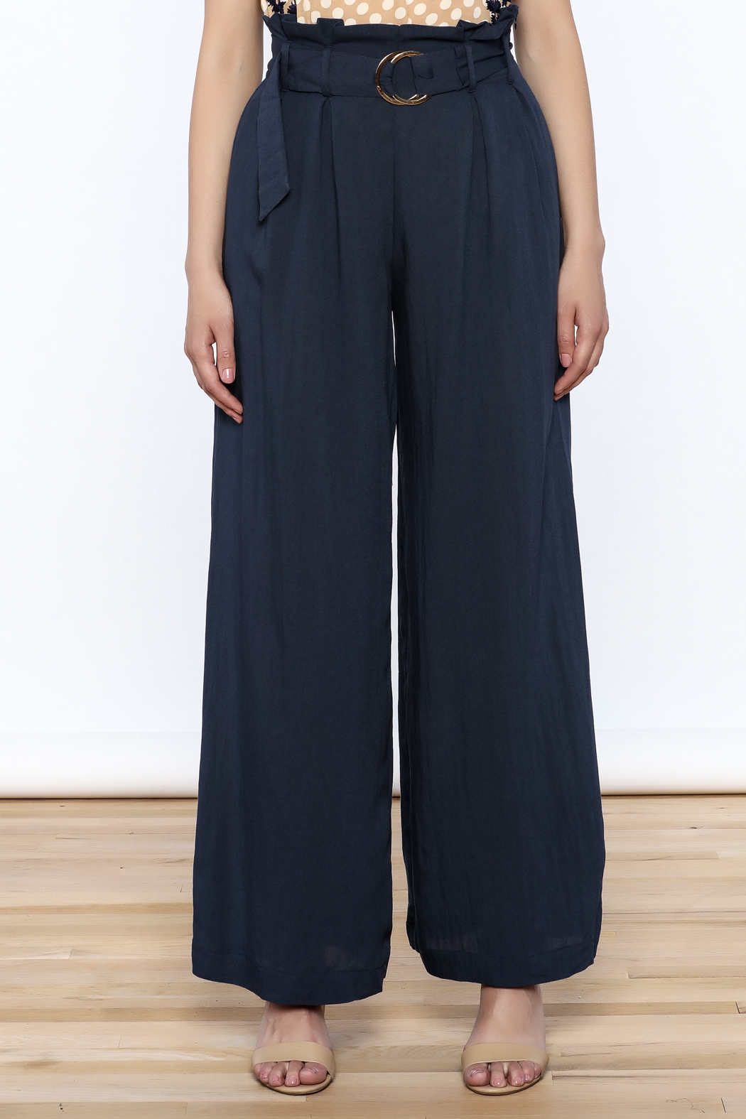 Jealous Tomato Navy High Waist Pants - Side Cropped Image