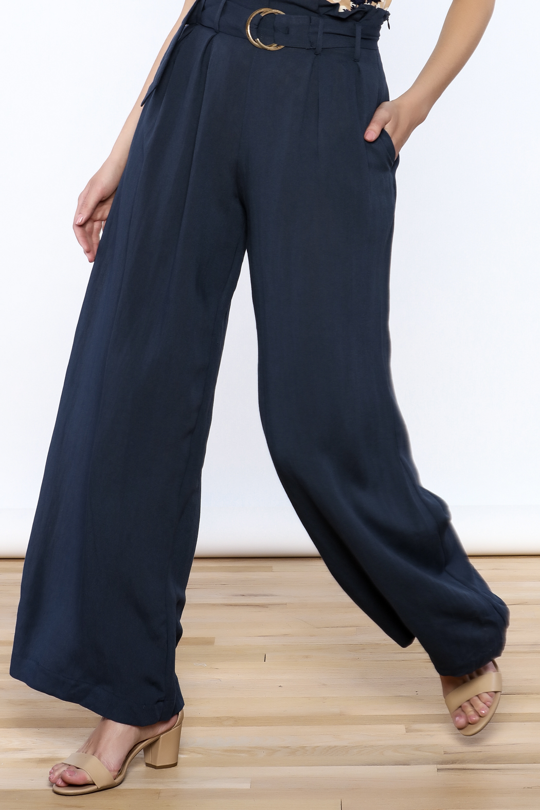 Jealous Tomato Navy High Waist Pants - Main Image