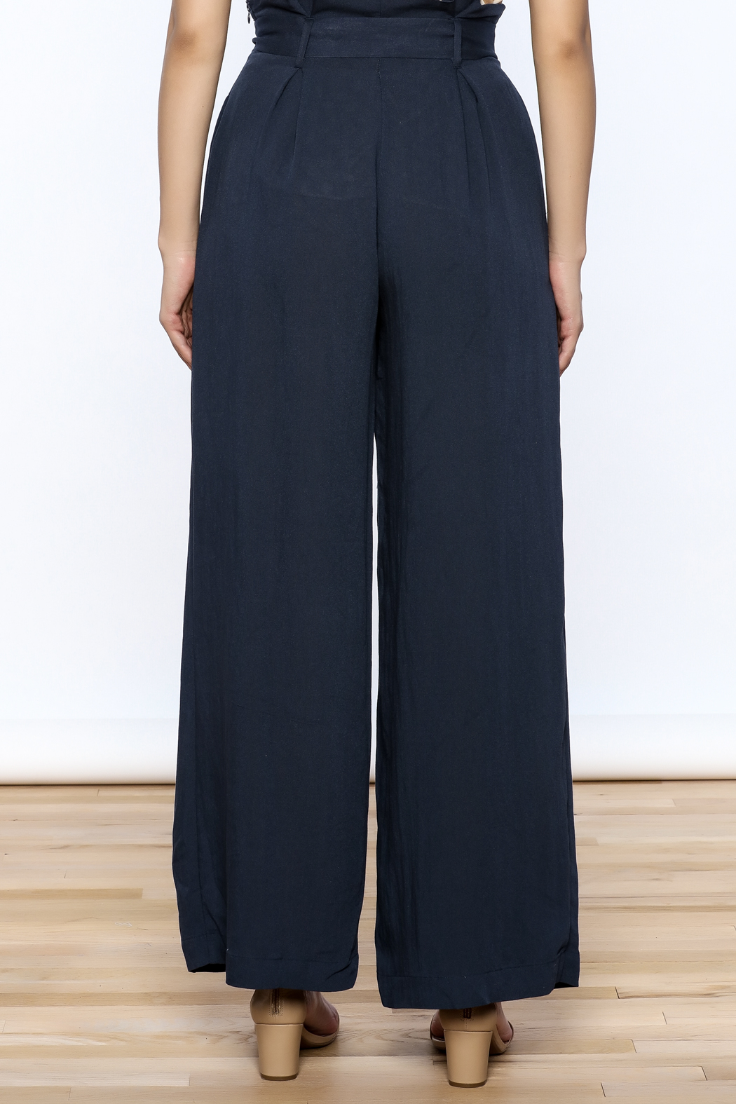 Jealous Tomato Navy High Waist Pants - Back Cropped Image